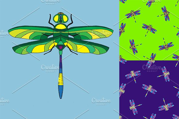 Dragonfly. Seamless pattern. - Illustrations