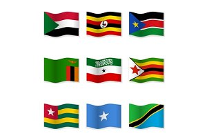Waving  National Flags. Set-18