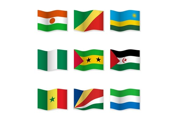 Waving National Flags. Set-17 - Objects