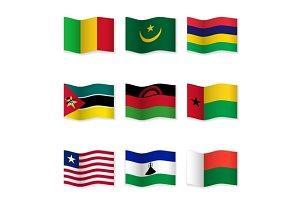Waving  National Flags. Set-16