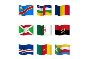 Waving  National Flags. Set-14
