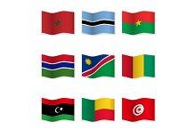 Waving  National Flags. Set-13