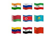 Waving  National Flags. Set-12