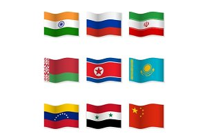 Waving  National Flags. Set-12