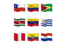 Waving  National Flags. Set-11