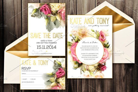 Blush Wedding Invitation Pack PSD Invitation Templates Creative