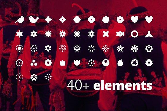 Folklore Patterns & Elements + Font in Patterns