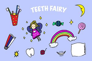 Tooth fairy. Doodle vector