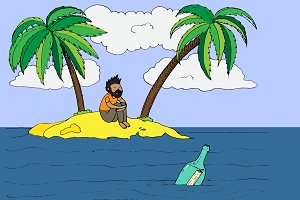 Lonely man on a desert island.