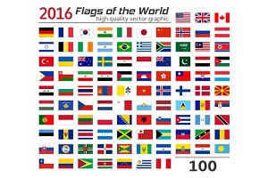 100 flags of different countries