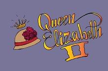 Queen Elizabeth II. Vector lettering