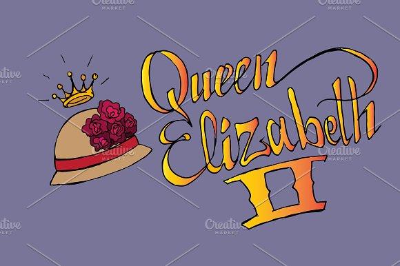 Queen Elizabeth II. Vector lettering - Illustrations