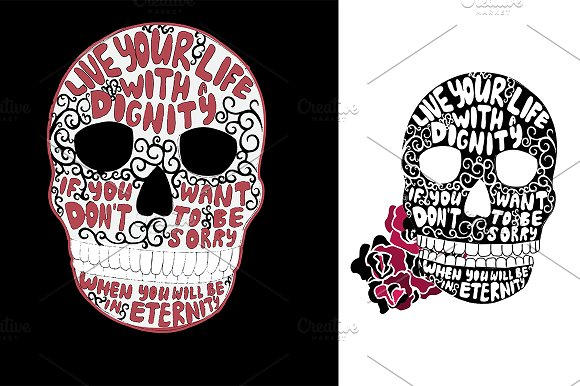 Skull with sign. Vector - Illustrations