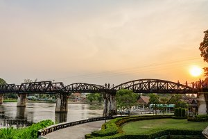 Bridge over the River Kwai at sunset