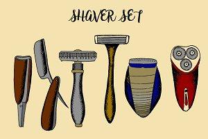 Shaver set. Vector