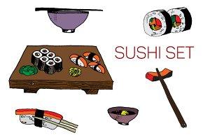 Sushi set. Vector