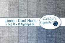 Linen Digital Paper - Blue & Grey