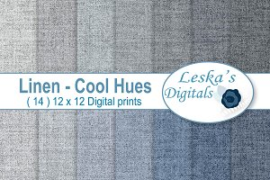 Linen Digital Paper - Blue & Grey