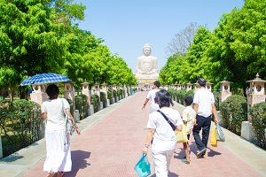 Giant Buddha with People India