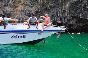 Tourist with boat in Krabi ,Thailand