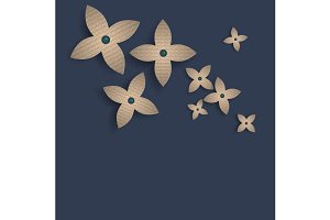 Corrugated paper flower on blue