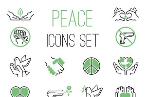 Peace icons vector set