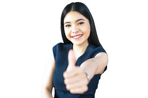 Asian Woman Thumbs up on Isolated White Background (with clipping path)