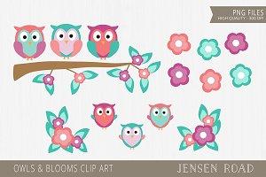 Owls & Blooms Clip Art