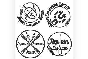 Vintage repair computers emblems