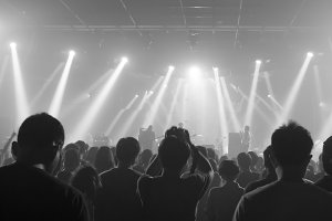 Music concert crowds illuminated from stage lights (very shallow depth of field) - Black and White