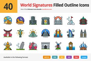 40 World Signatures Outline Icons
