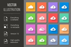 Set of flat cloud icons