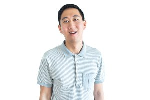Asian man smiling confidently isolated on white background