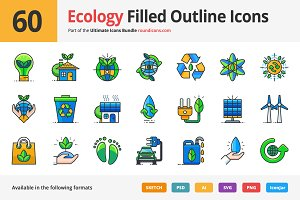 60 Ecology Filled Outline Icons