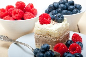 cream cake and berries