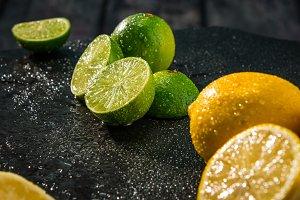 Limes and lemons citrus fruits