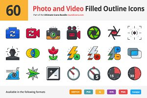 60 Photo and Video UI Filled Icons