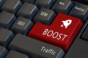 Web traffic boost concept and rocket icon