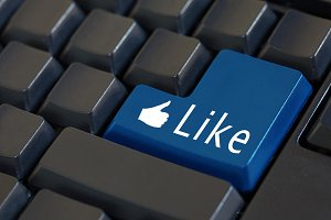 Word 'Like' on enter keyboard - likeable social media concept