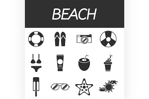 Beach icon set