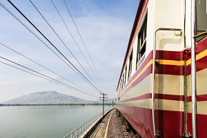 View from train outside with nature scenery -  freedom and travel concept
