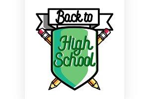 Color vintage back to school emblem