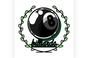 Color vintage billiard emblems