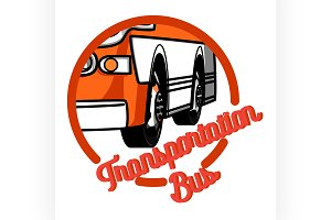 vintage bus transportation emblem