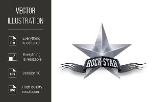 Silver star with Rock Star banner