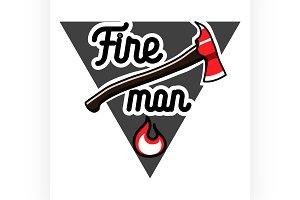 Color vintage fireman emblems