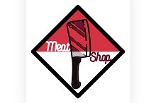 Color vintage meat store emblem