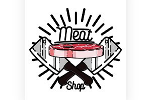 Color vintage meat store emblem