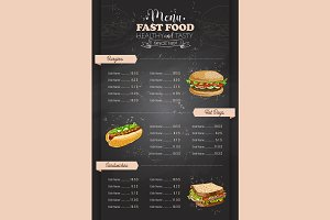 vertical color fast food menu design