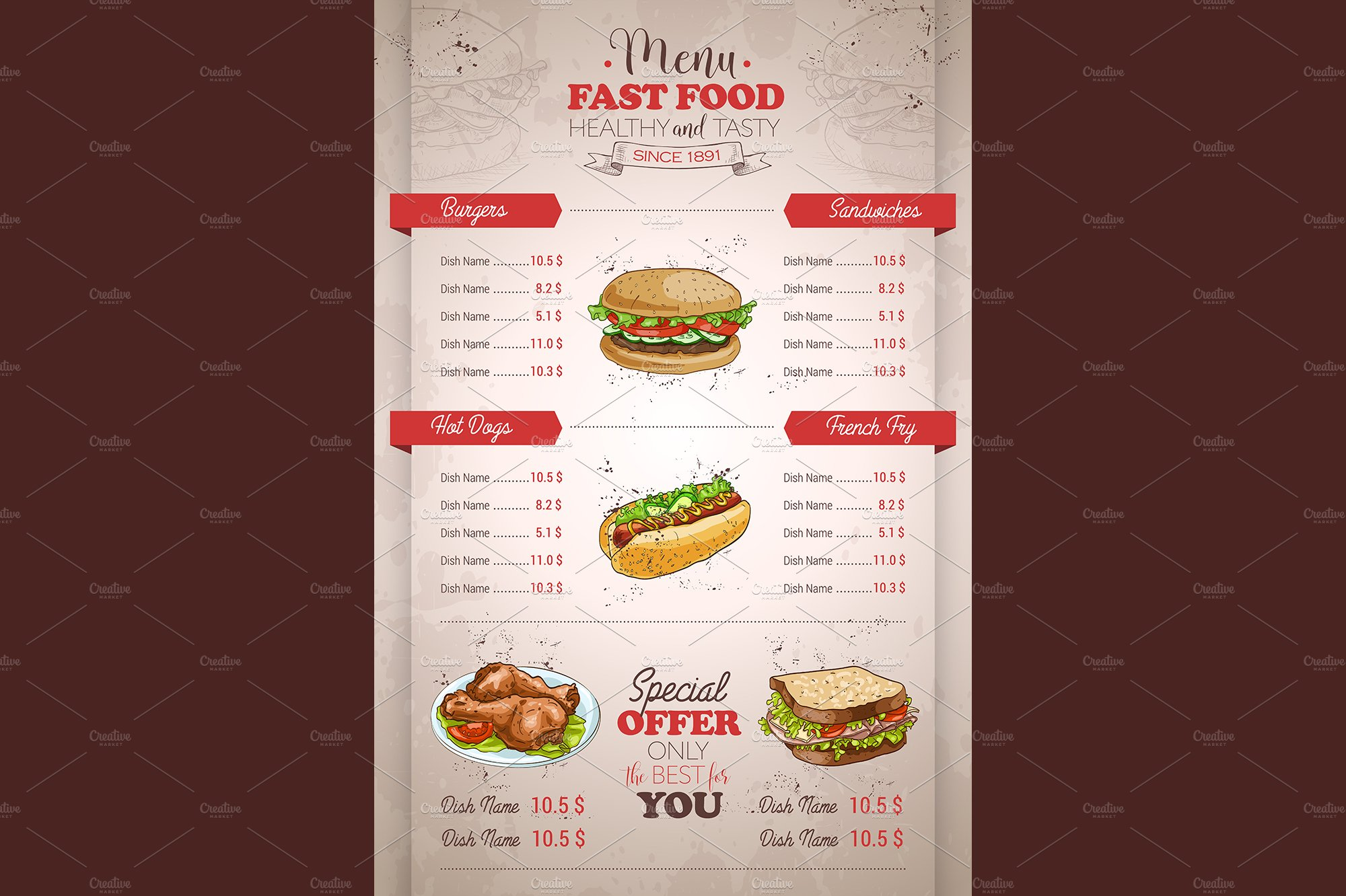 vertical color fast food menu design ~ Illustrations ...